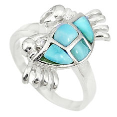Natural blue larimar 925 sterling silver crab ring size 6.5 a74768 c13390
