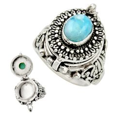 2.97cts natural blue larimar 925 sterling silver poison box ring size 7.5 r26700