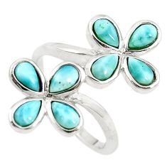 Natural blue larimar 925 sterling silver ring jewelry size 7.5 a68633 c15043