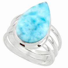 8.69cts natural blue larimar 925 sterling silver ring jewelry size 7.5 r43646