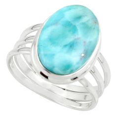 10.34cts natural blue larimar 925 sterling silver ring jewelry size 10 r43623
