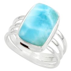 7.90cts natural blue larimar 925 sterling silver ring jewelry size 10 r43625