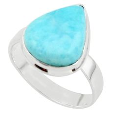 9.61cts natural blue larimar 925 sterling silver ring jewelry size 10 r43630