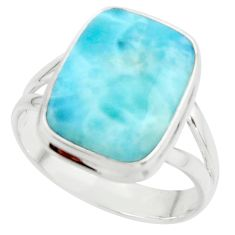 10.37cts natural blue larimar 925 sterling silver ring jewelry size 10 r43636