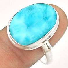 14.26cts natural blue larimar 925 sterling silver ring jewelry size 10 t54306