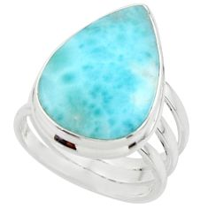 10.37cts natural blue larimar 925 sterling silver ring jewelry size 5 r43624