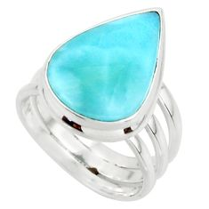 8.11cts natural blue larimar 925 sterling silver ring jewelry size 5 r43655