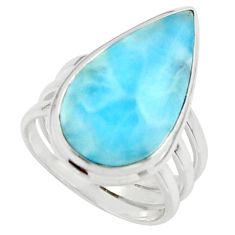 8.35cts natural blue larimar 925 sterling silver ring jewelry size 5 r43660