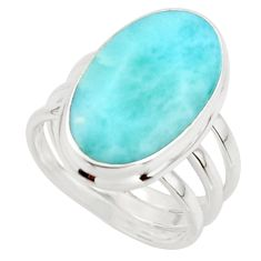 9.83cts natural blue larimar 925 sterling silver ring jewelry size 6 r43627