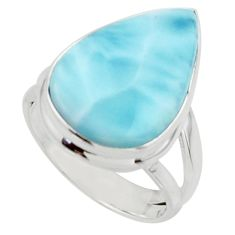 9.61cts natural blue larimar 925 sterling silver ring jewelry size 6 r43635