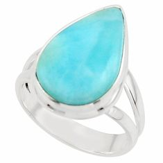 9.61cts natural blue larimar 925 sterling silver ring jewelry size 7 r43643