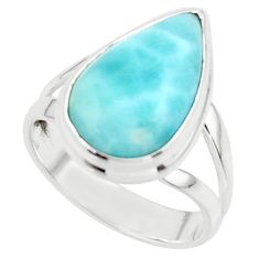 7.04cts natural blue larimar 925 sterling silver ring jewelry size 7 r43644
