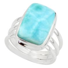 7.40cts natural blue larimar 925 sterling silver ring jewelry size 7 r43650
