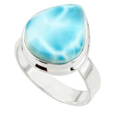 7.59cts natural blue larimar 925 sterling silver ring jewelry size 7 r44075