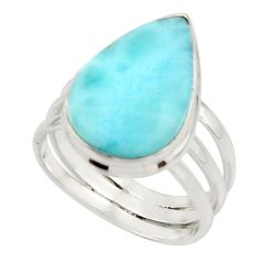 8.87cts natural blue larimar 925 sterling silver ring jewelry size 7 r44078