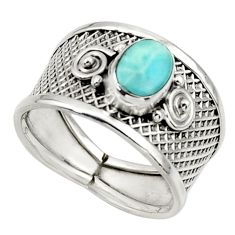 1.43cts natural blue larimar 925 sterling silver ring jewelry size 7 r44306