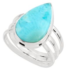 9.99cts natural blue larimar 925 sterling silver ring jewelry size 8 r43626