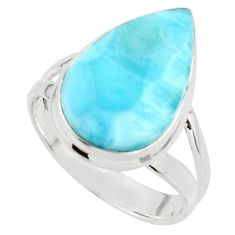 9.13cts natural blue larimar 925 sterling silver ring jewelry size 8 r43629