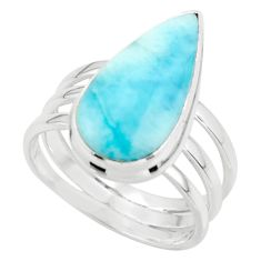 9.07cts natural blue larimar 925 sterling silver ring jewelry size 8 r43656