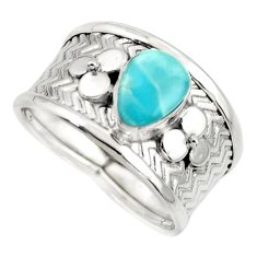 2.13cts natural blue larimar 925 sterling silver ring jewelry size 8 r44268