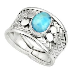 2.13cts natural blue larimar 925 sterling silver ring jewelry size 8 r44708