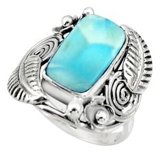 5.79cts natural blue larimar 925 sterling silver ring jewelry size 8 r44715