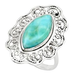 7.29cts natural blue larimar 925 sterling silver ring jewelry size 8 r44726