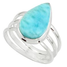 9.28cts natural blue larimar 925 sterling silver ring jewelry size 9 r43633