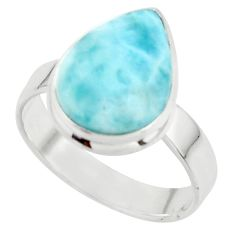 7.04cts natural blue larimar 925 sterling silver ring jewelry size 9 r43649