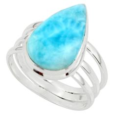 8.49cts natural blue larimar 925 sterling silver ring jewelry size 9 r43659