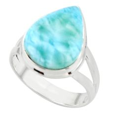 13.65cts natural blue larimar 925 sterling silver ring jewelry size 9 r44077