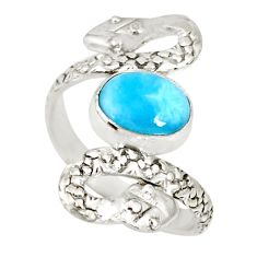 3.01cts natural blue larimar 925 sterling silver snake ring size 7.5 r78782