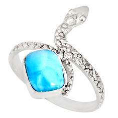 3.26cts natural blue larimar 925 sterling silver snake ring size 9.5 r78783