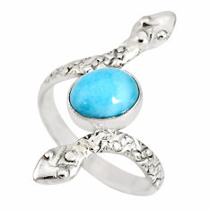3.07cts natural blue larimar 925 sterling silver snake ring size 7.5 r78793