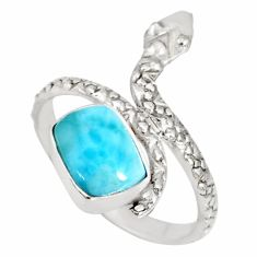 3.10cts natural blue larimar 925 sterling silver snake ring size 9.5 r78796