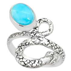 2.81cts natural blue larimar 925 sterling silver snake ring size 7.5 r82552