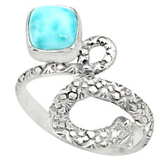 2.53cts natural blue larimar 925 sterling silver snake ring size 7.5 r82554