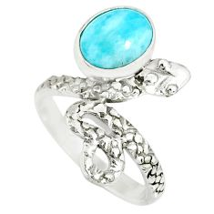 3.26cts natural blue larimar 925 sterling silver snake ring size 6 r78602