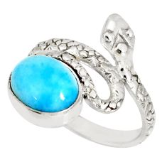 3.93cts natural blue larimar 925 sterling silver snake ring size 7 r78787