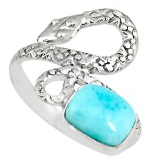 2.98cts natural blue larimar 925 sterling silver snake ring size 9 r82551