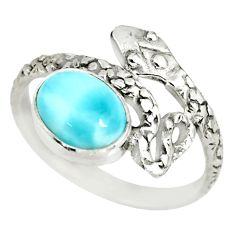 3.26cts natural blue larimar 925 sterling silver snake ring size 9 r82555