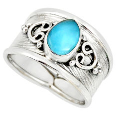 2.12cts natural blue larimar 925 sterling silver solitaire ring size 7.5 r34466