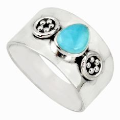 1.76cts natural blue larimar 925 sterling silver solitaire ring size 8.5 r34634
