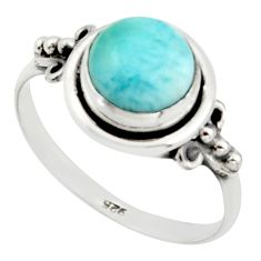 3.29cts natural blue larimar 925 sterling silver solitaire ring size 8.5 r41362