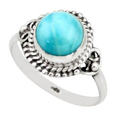 2.97cts natural blue larimar 925 sterling silver solitaire ring size 7.5 r41405