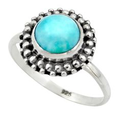 2.92cts natural blue larimar 925 sterling silver solitaire ring size 8.5 r41562