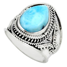6.20cts natural blue larimar 925 sterling silver solitaire ring size 8.5 r52196