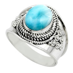4.38cts natural blue larimar 925 sterling silver solitaire ring size 7.5 r52205