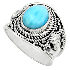 4.21cts natural blue larimar 925 sterling silver solitaire ring size 7.5 r52209