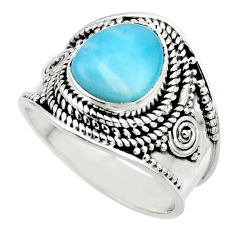 4.21cts natural blue larimar 925 sterling silver solitaire ring size 7.5 r52231